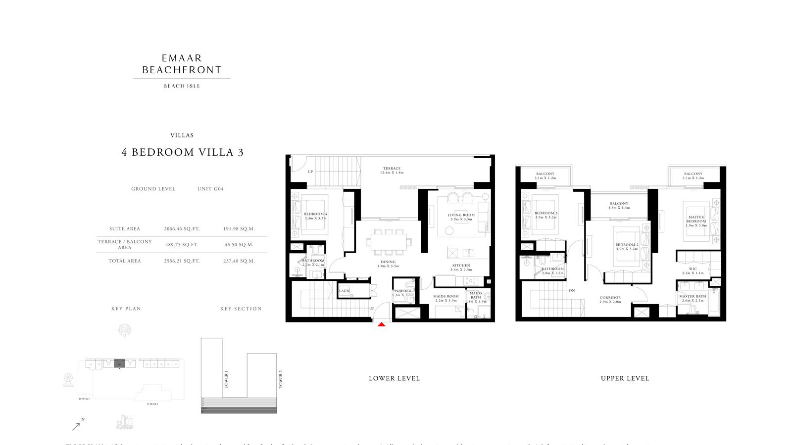 4 Bedroom Villas 3 Size 2556    sq. ft.