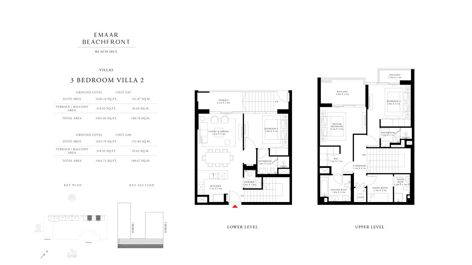 3 Bedroom Villas 2, Size 1944    sq. ft.