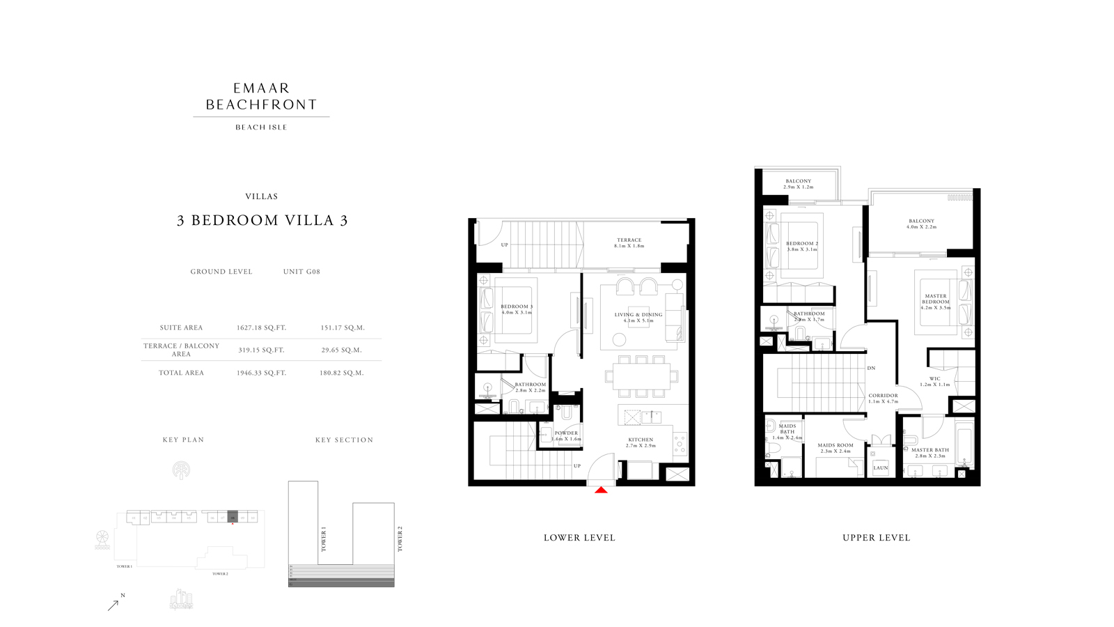 3 Bedroom Villas 3, Size 1946    sq. ft.