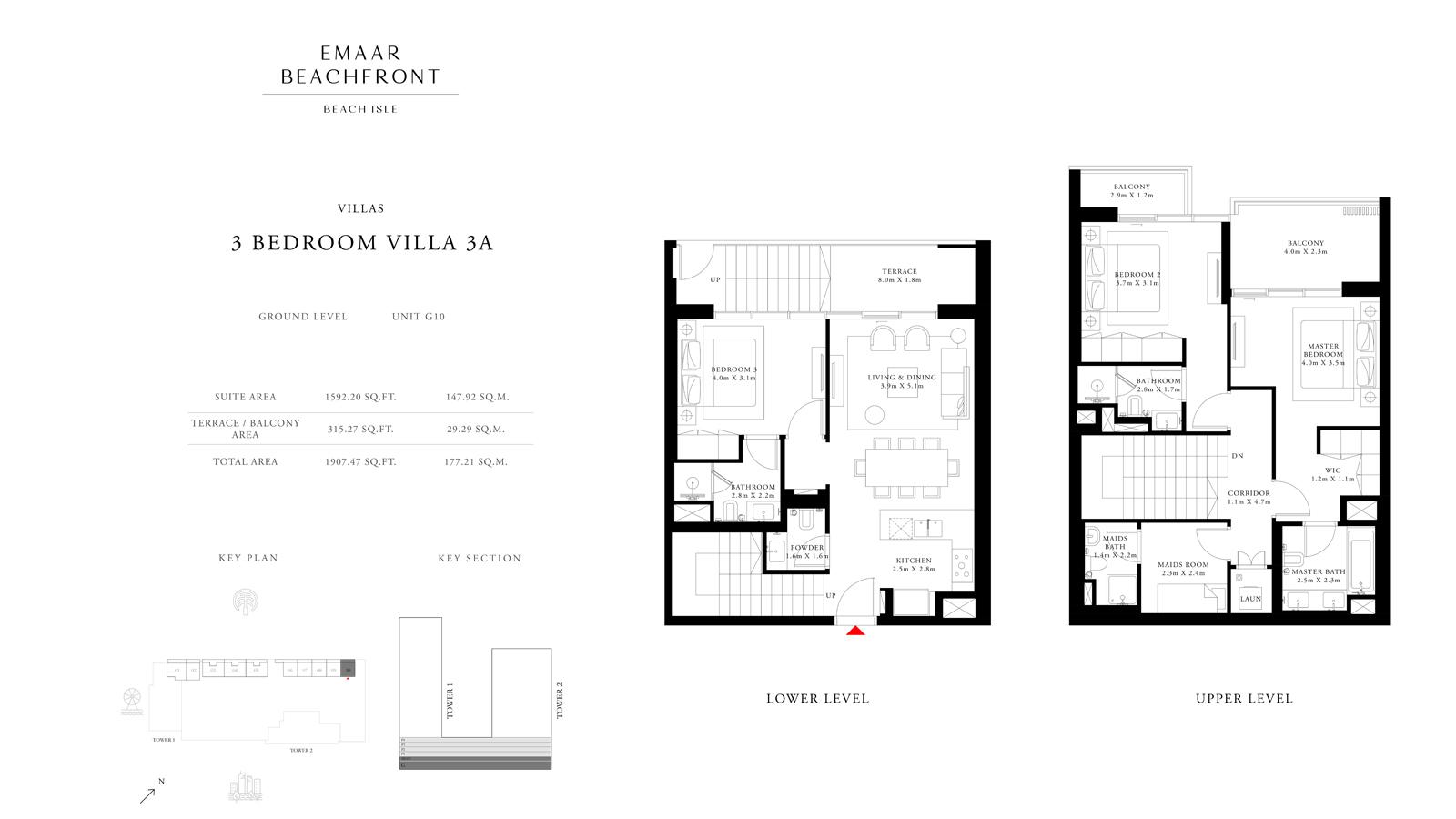 3 Bedroom Villas 3A, Size 1907    sq. ft.