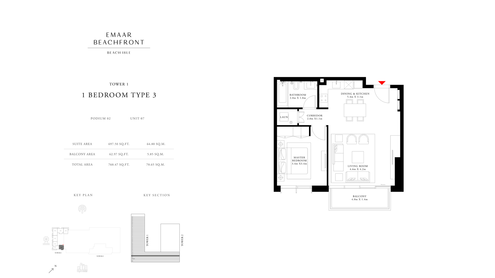 1 Bedroom Type 3 Tower 1, Size 760    sq. ft.