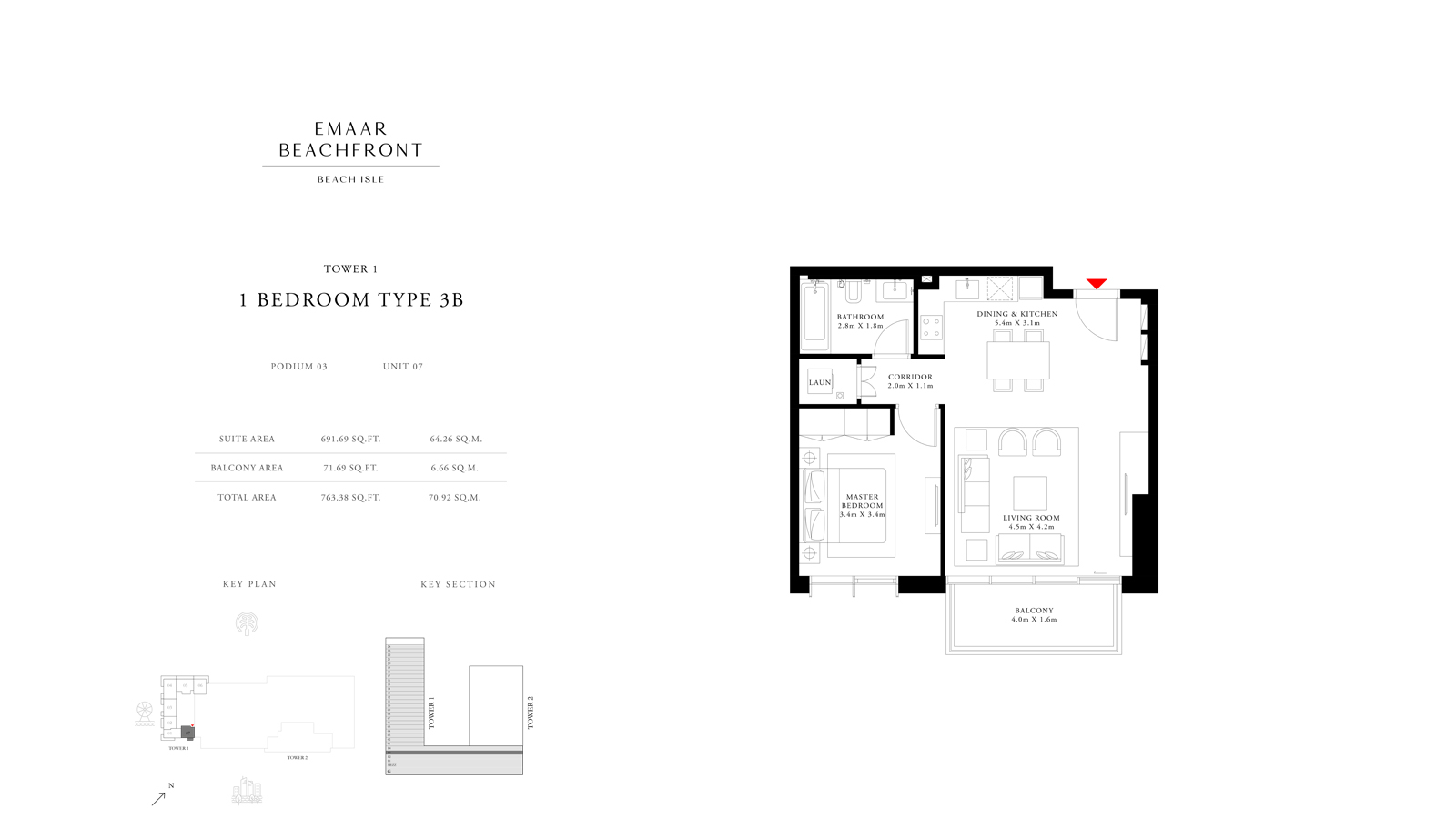 1 Bedroom Type 3B Tower 1, Size 763    sq. ft.