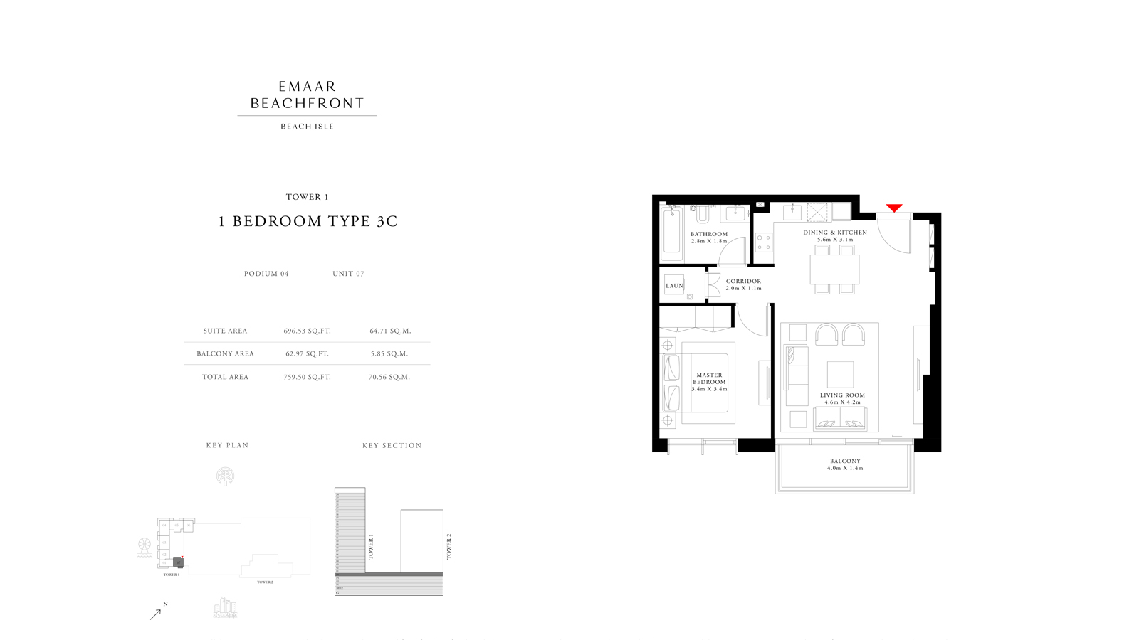1 Bedroom Type 3C Tower 1, Size 759    sq. ft.