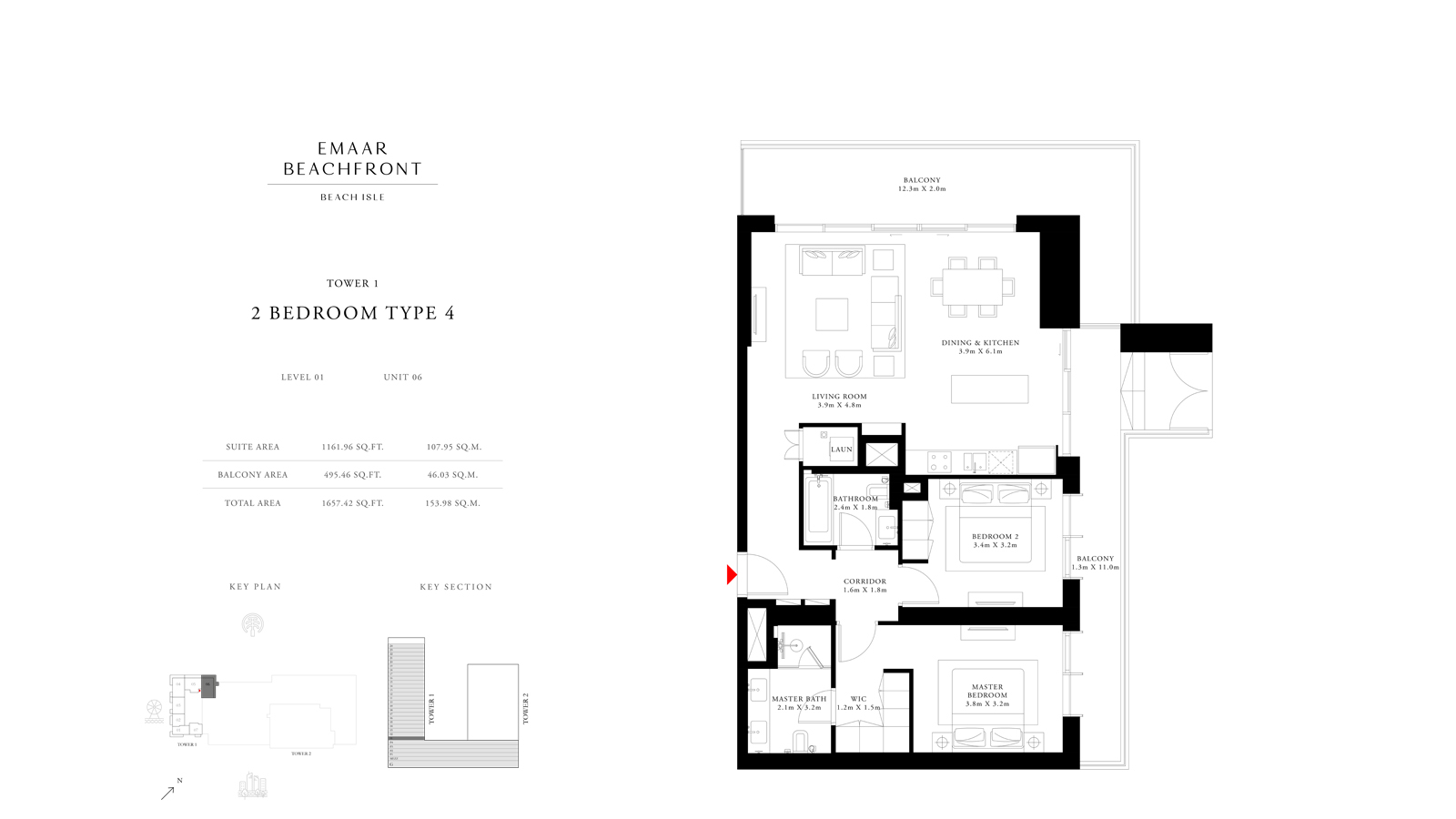 2 Bedroom Type 4 Tower 1, Size 1657    sq. ft.