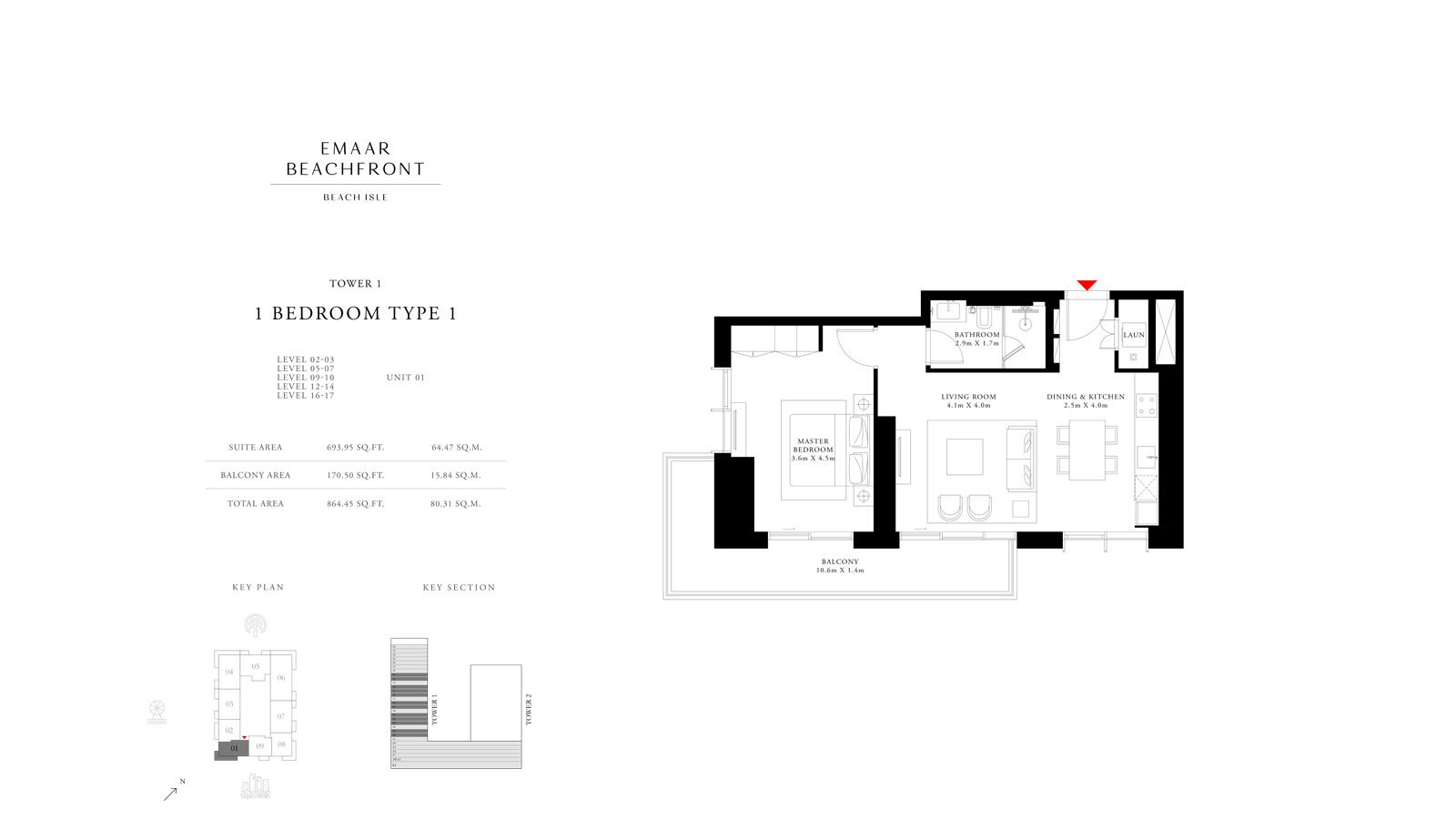 1 Bedroom Type 1 Tower 1, Size 864    sq. ft.