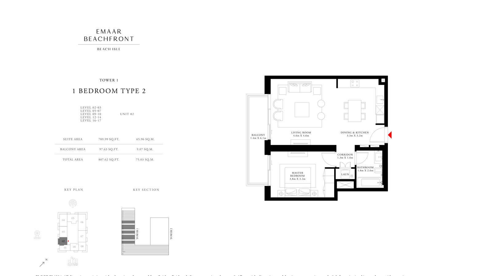 1 Bedroom Type 2 Tower 1, Size 807    sq. ft.
