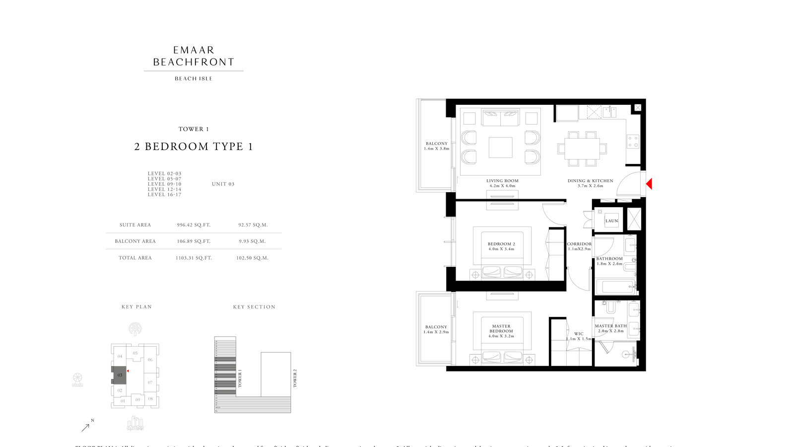 2 Bedroom Type 1 Tower 1, Size 1103    sq. ft.