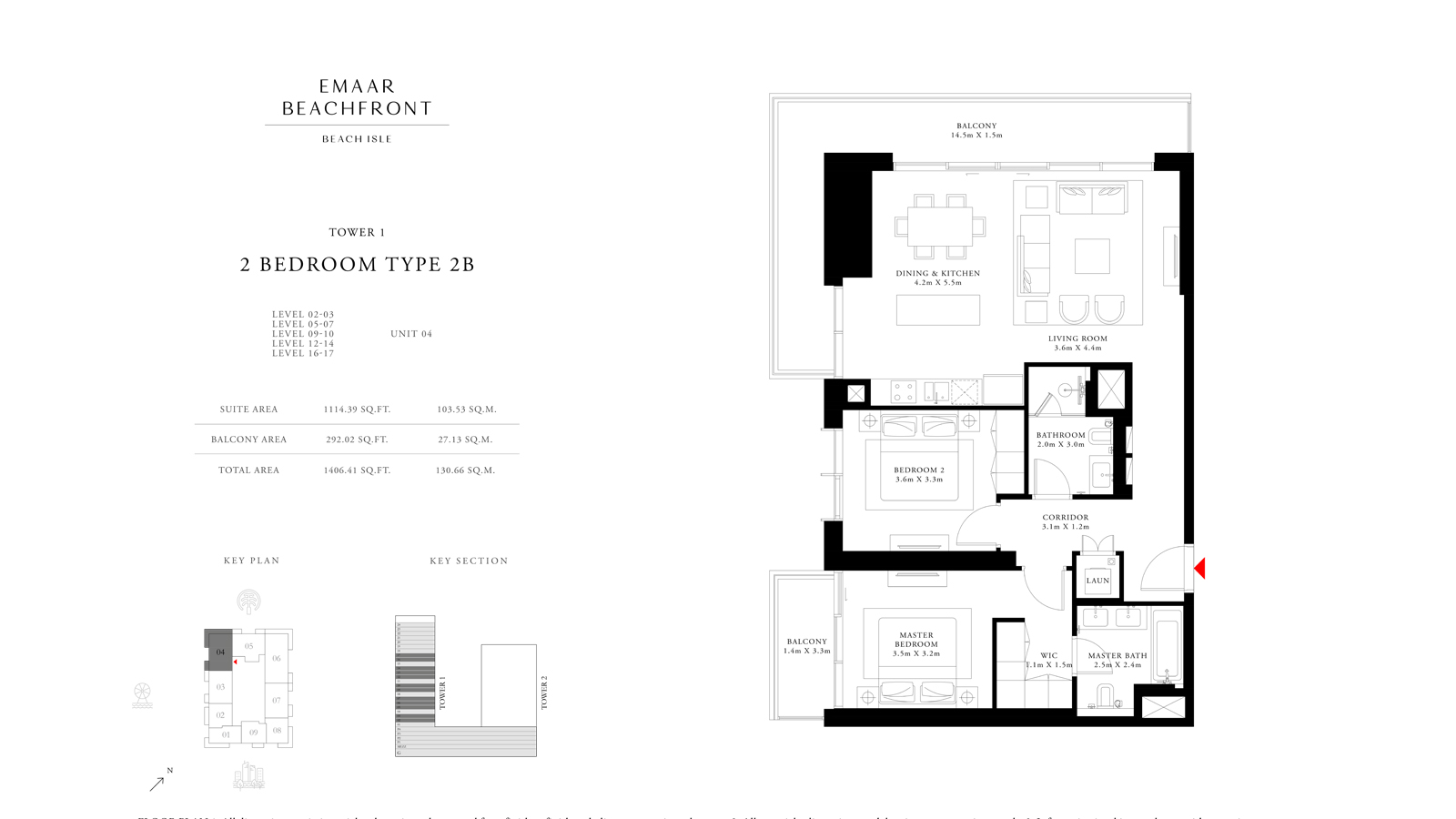 2 Bedroom Type 2b Tower 1, Size 1406    sq. ft.