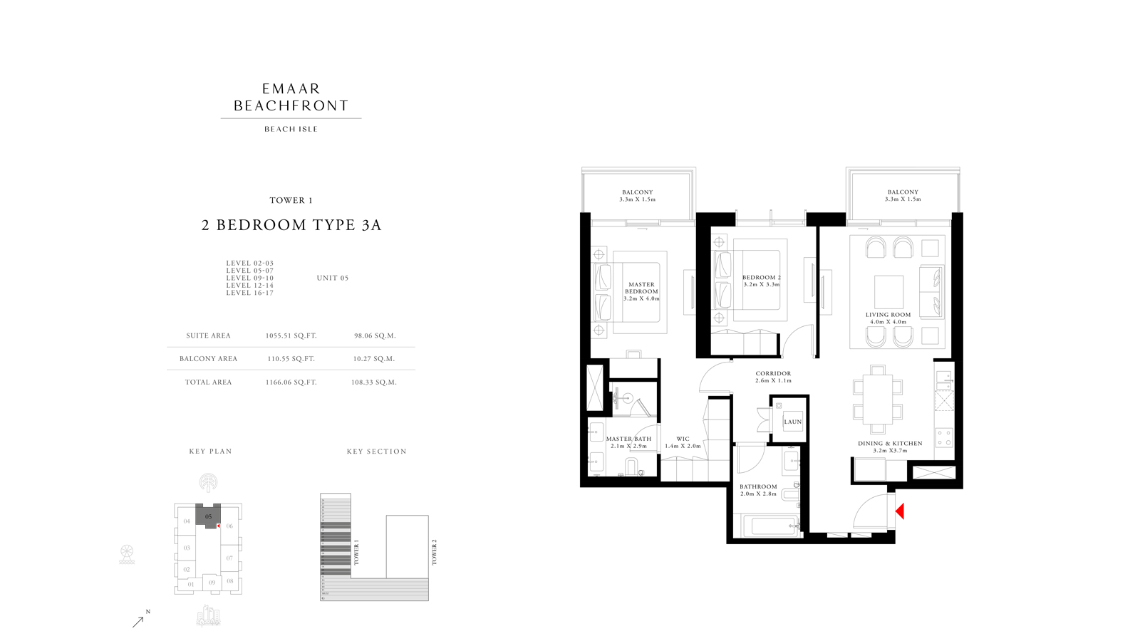 2 Bedroom Type 3A Tower 1, Size 1166    sq. ft.