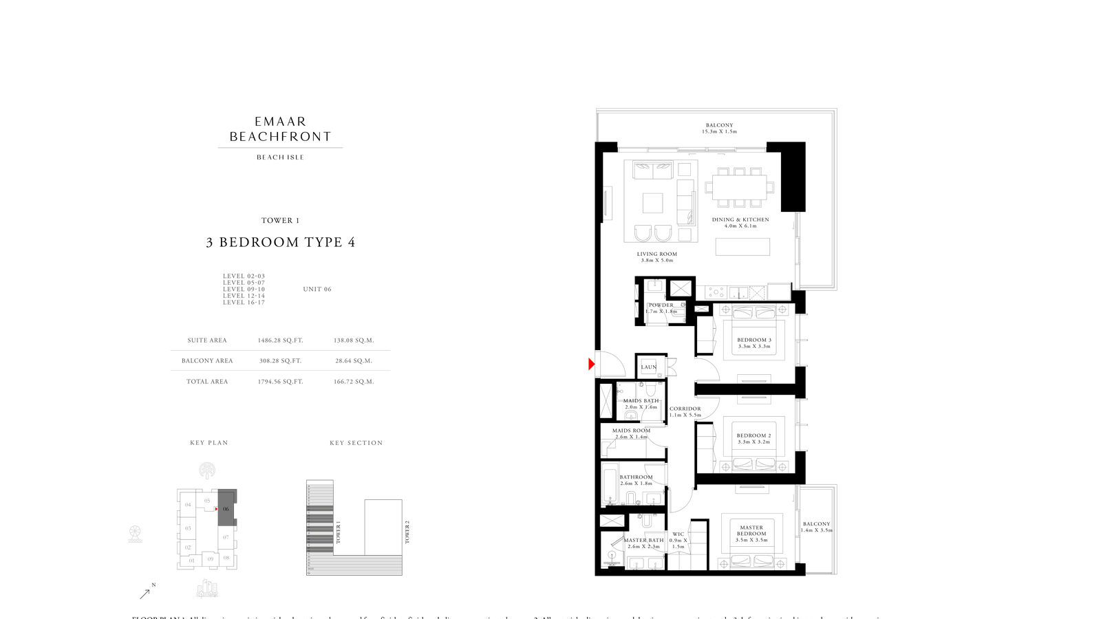 3 Bedroom Type 4 Tower 1, Size 1794    sq. ft.