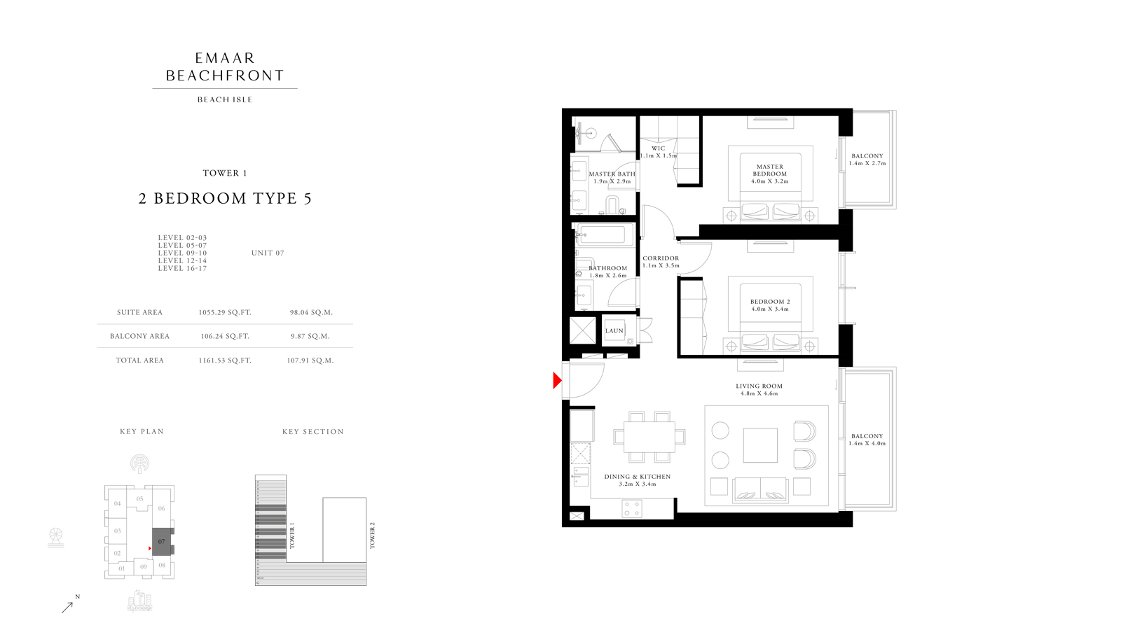 2 Bedroom Type 5 Tower 1, Size 1161    sq. ft.