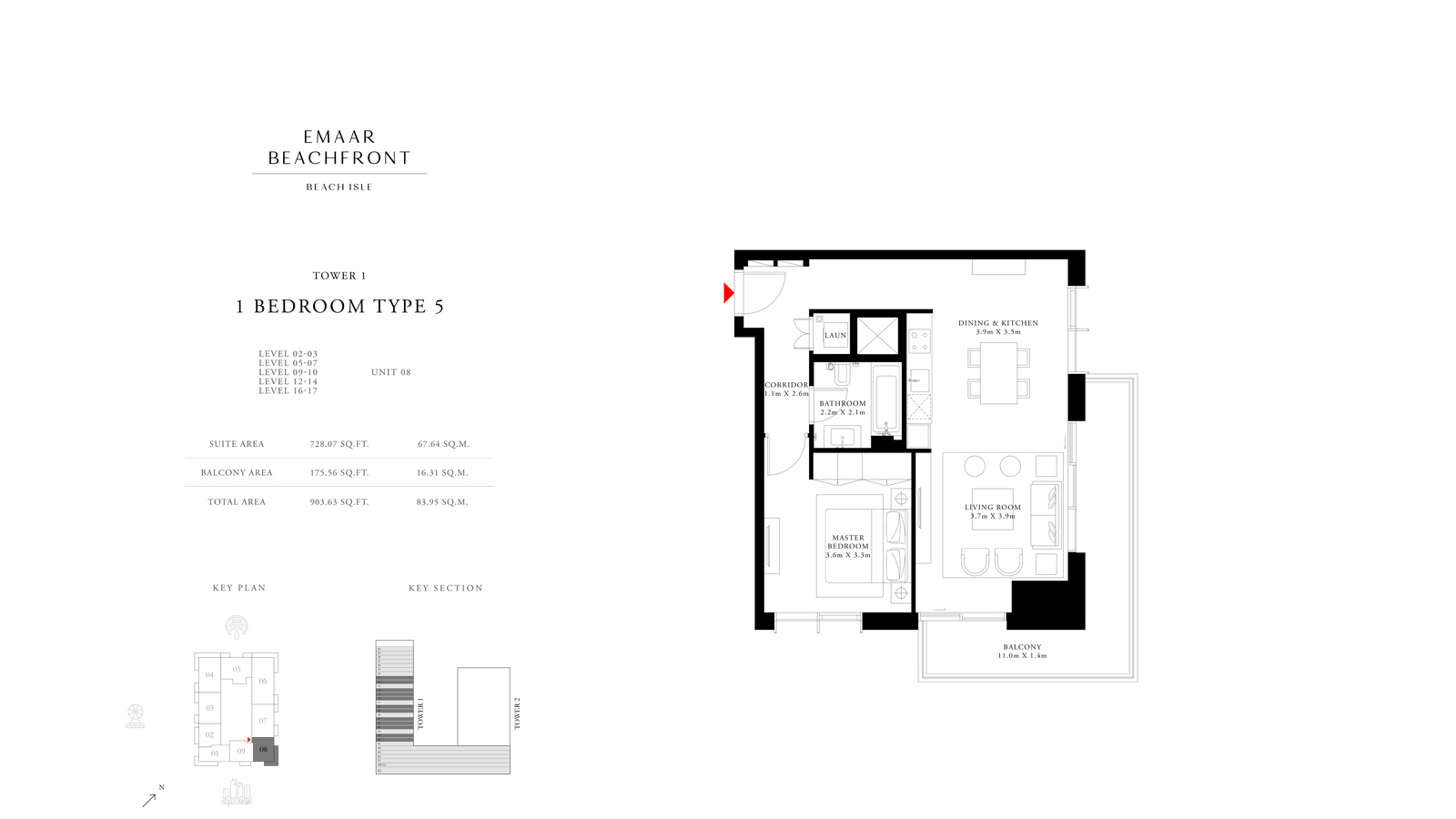 1 Bedroom Type 5 Tower 1, Size 903    sq. ft.
