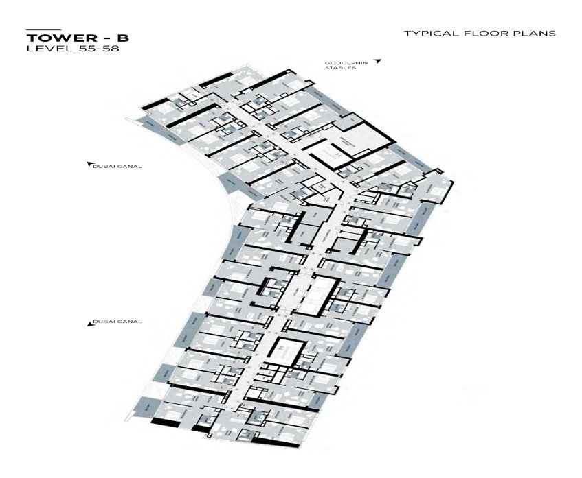 Typical Floor plan,Tower-B,Level-55-58