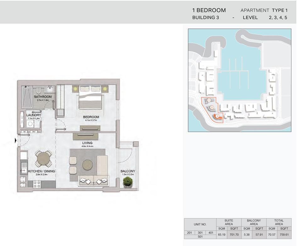 1-Bedroom,Building-3-Type-1,Size-759.61    sq. ft.