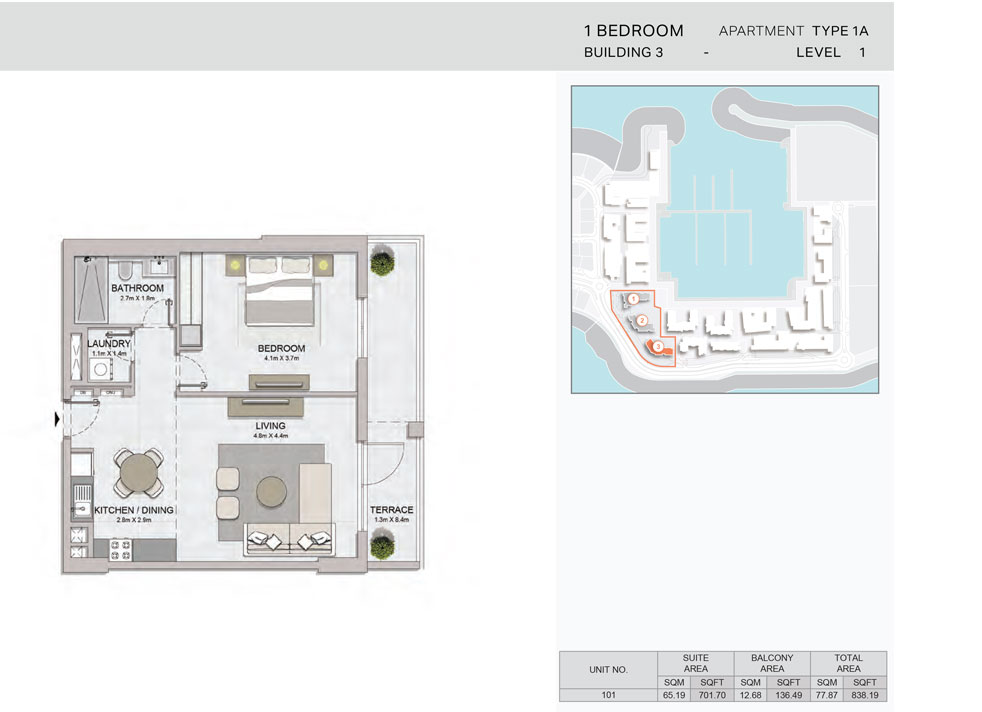 1-Bedroom,Building-3-Type-1A,Size-838.19    sq. ft.