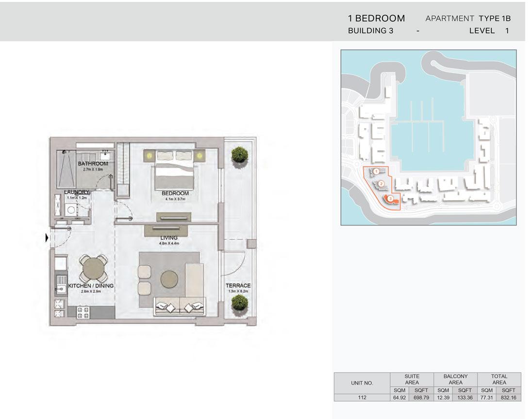 1-Bedroom,Building-3-Type-1B,Size-832.16    sq. ft.