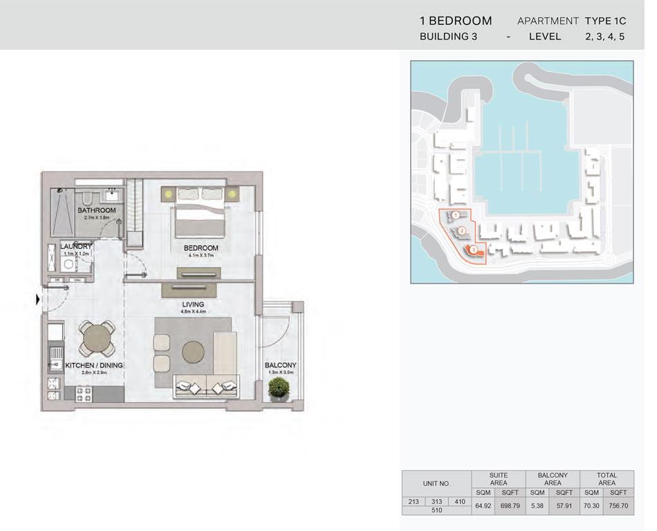 1-Bedroom,Building-3-Type-1C,Size-756.70    sq. ft.