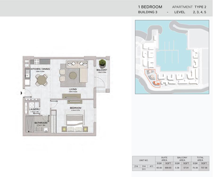 1-Bedroom,Building-3-Type-2,Size-757.56    sq. ft.