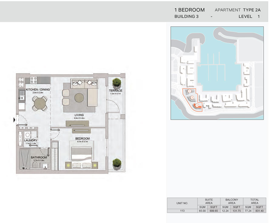 1-Bedroom,Building-3-Type-2A,Size-831.40    sq. ft.
