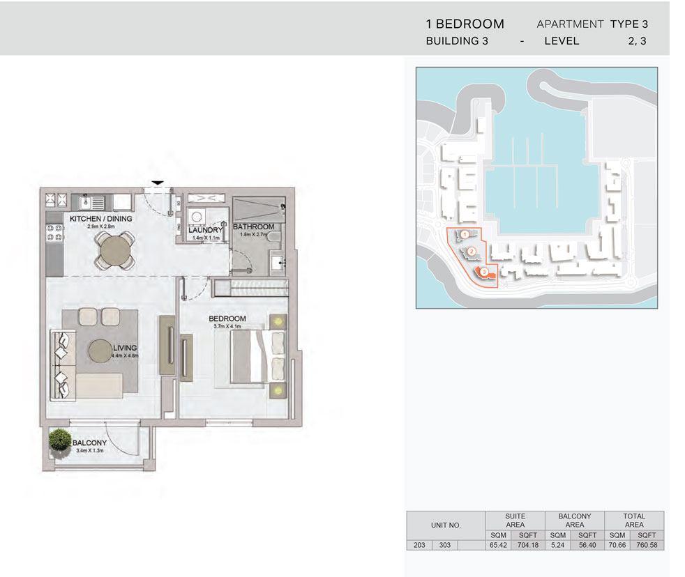 1-Bedroom,Building-3-Type-3,Size-760.58    sq. ft.