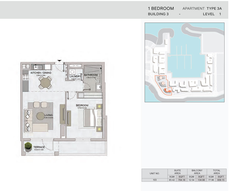 1-Bedroom,Building-3-Type-3A,Size-839.15    sq. ft.