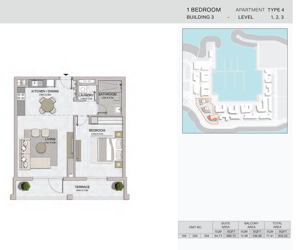 1-Bedroom,Building-3-Type-4,Size-833.23    sq. ft.
