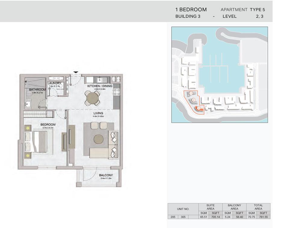 1-Bedroom,Building-3-Type-5,Size-761.55    sq. ft.
