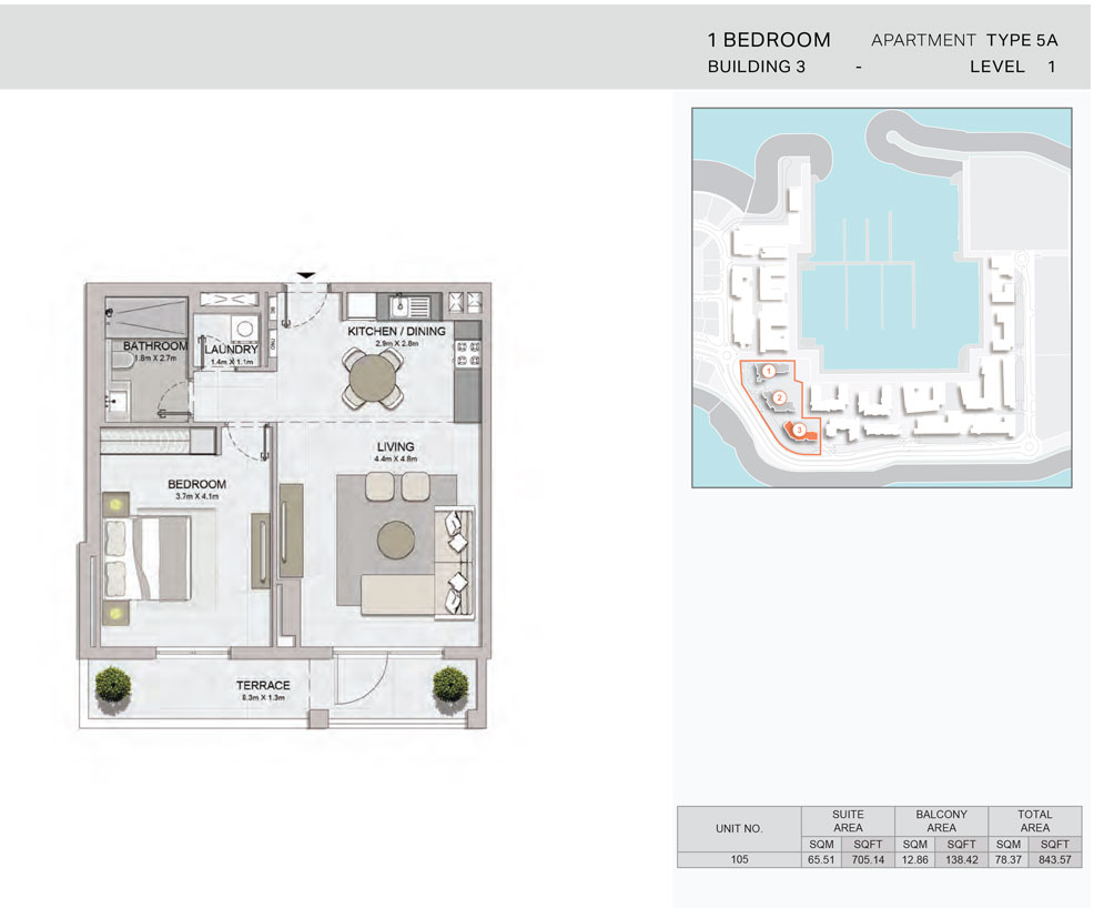 1-Bedroom,Building-3-Type-5A,Size-843.57    sq. ft.
