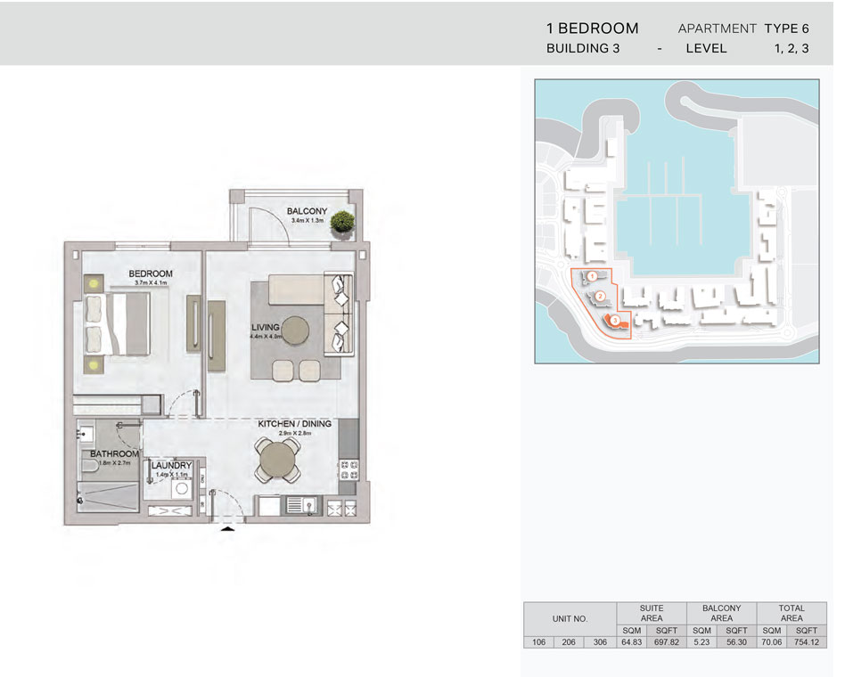 1-Bedroom,Building-3-Type-6,Size-754.12    sq. ft.