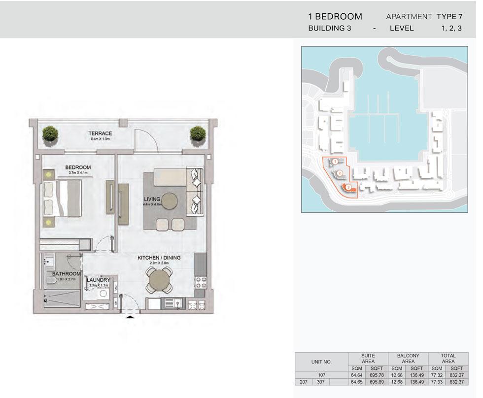 1-Bedroom,Building-3-Type-7,Size-832.37    sq. ft.
