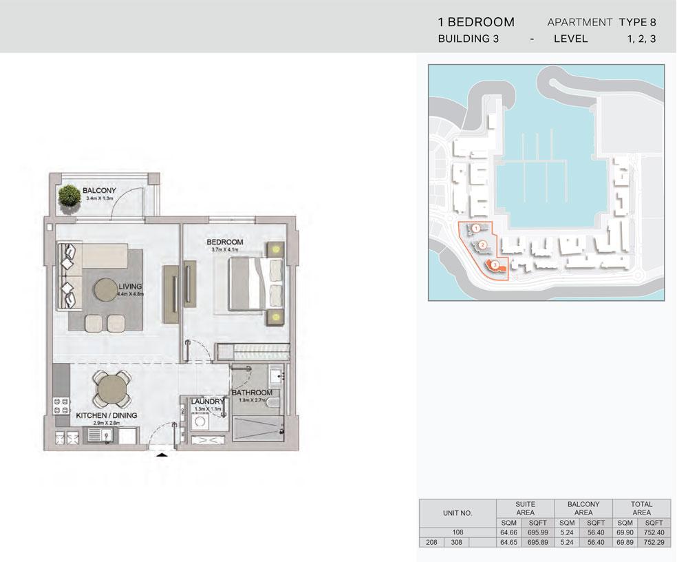 1-Bedroom,Building-3-Type-8,Size-752.29    sq. ft.