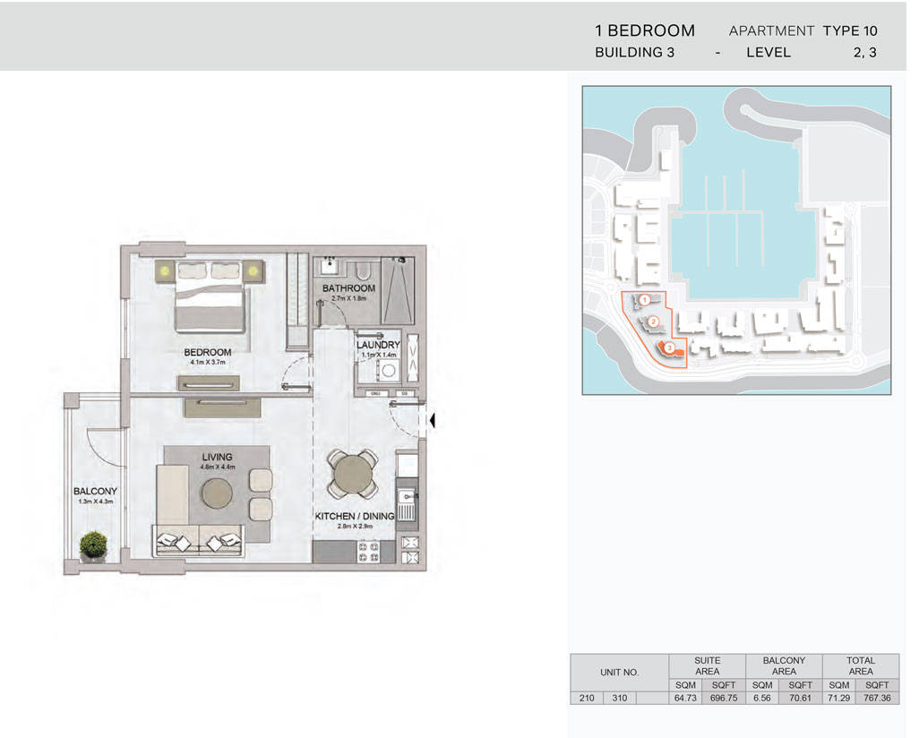1-Bedroom,Building-3-Type-10,Size-767.36    sq. ft.