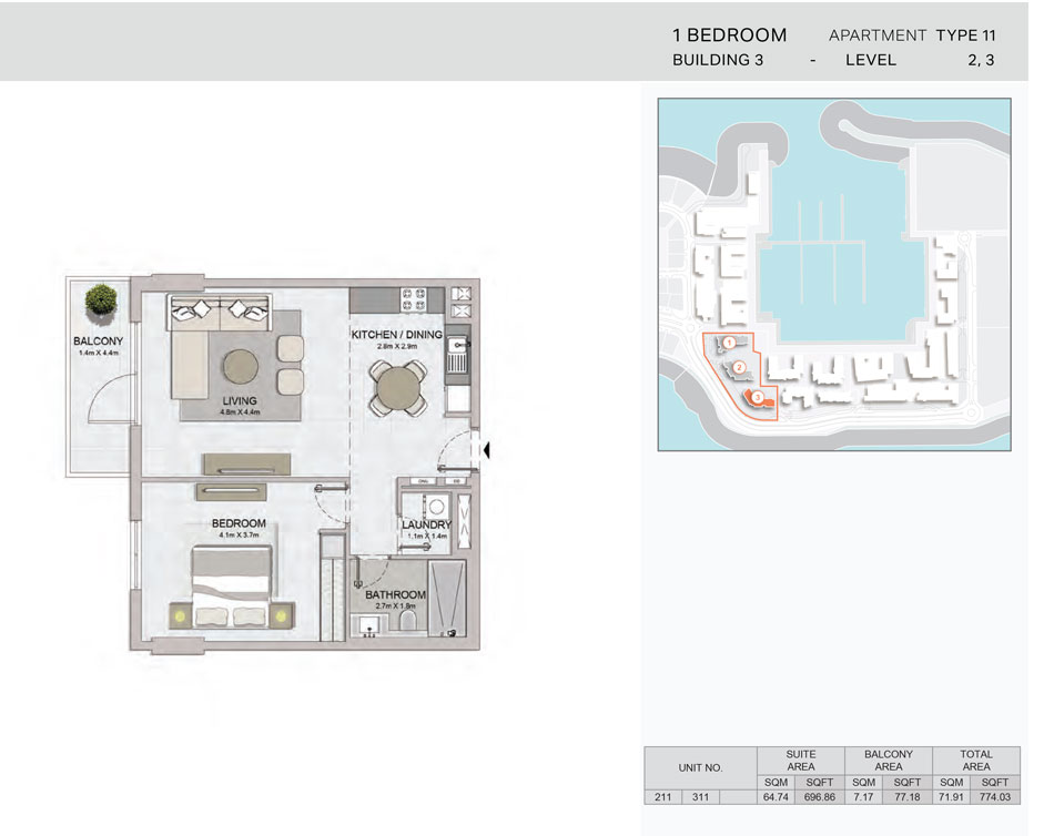 1-Bedroom,Building-3-Type-11,Size-774.03    sq. ft.