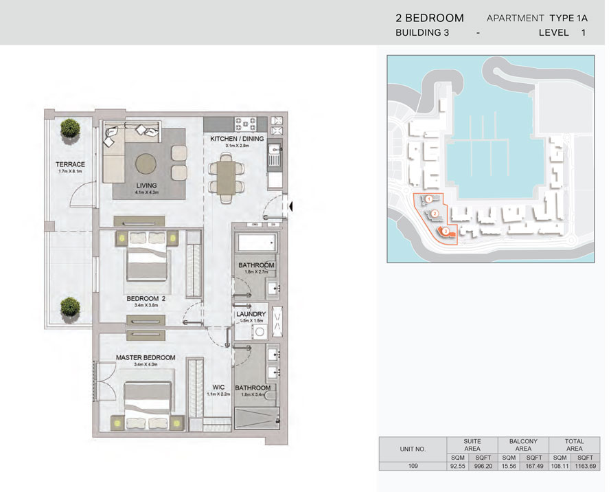 2-Bedroom,Building-3-Type-1A,Size-1163.69    sq. ft.