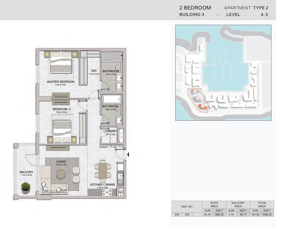 2-Bedroom,Building-3-Type-2,Size-1085.97    sq. ft.