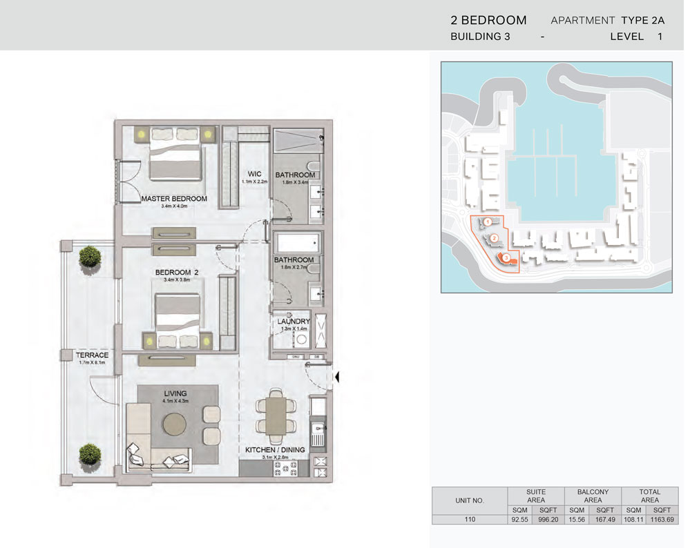 2-Bedroom,Building-3-Type-2A,Size-1163.69    sq. ft.