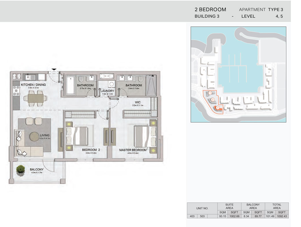 2-Bedroom,Building-3-Type-3,Size-1092.43    sq. ft.