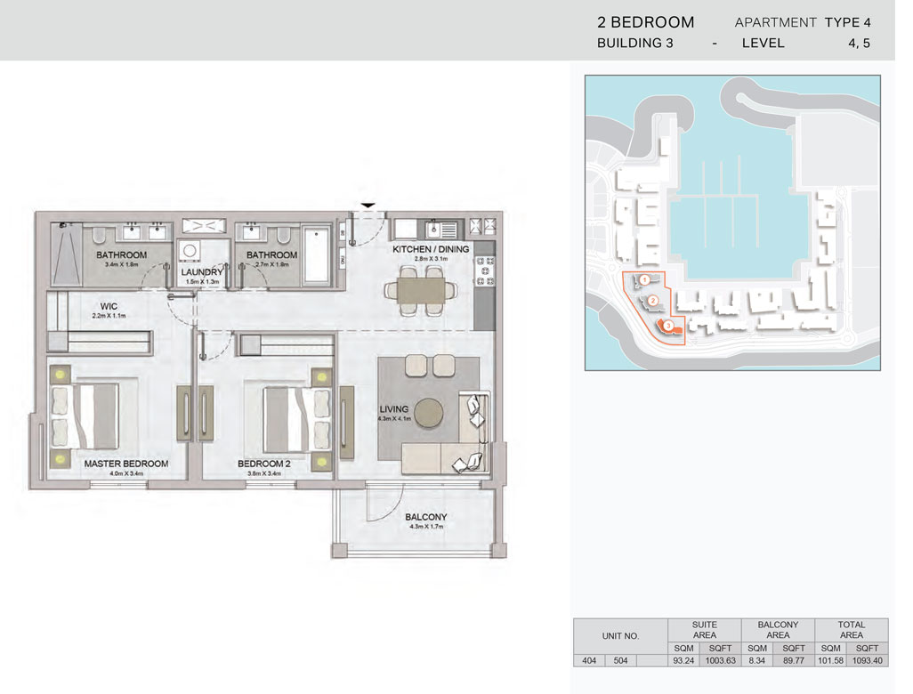 2-Bedroom,Building-3-Type-4,Size-1093.40    sq. ft.