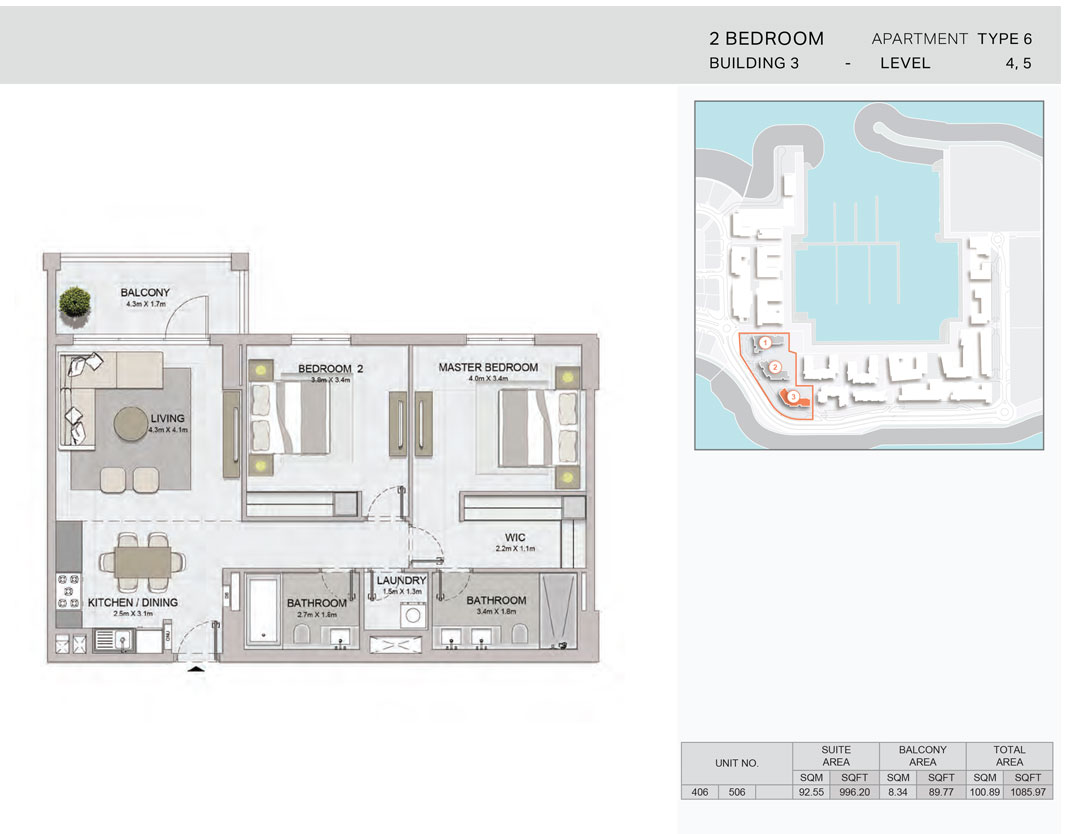 2-Bedroom,Building-3-Type-6,Size-1085.97    sq. ft.
