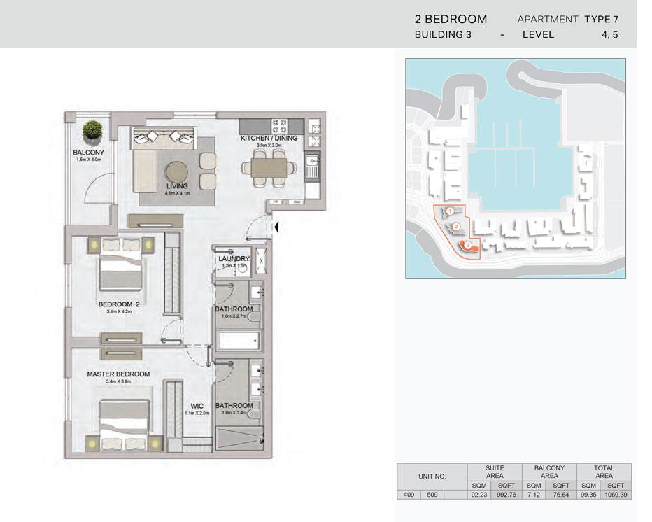 2-Bedroom,Building-3-Type-7,Size-1069.39    sq. ft.