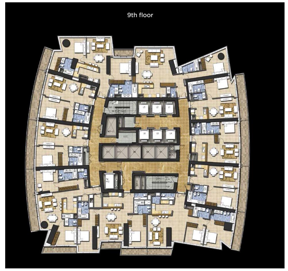 Typical Floor Plan, 9th Floor