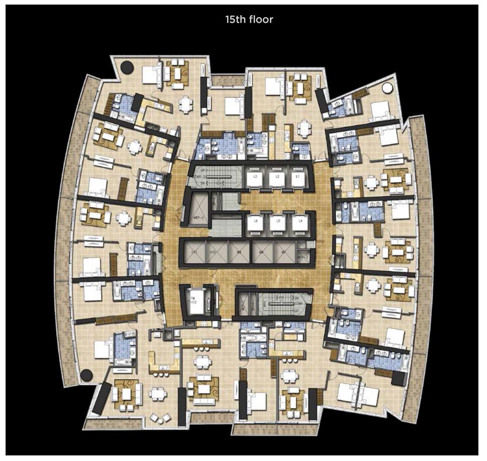 Typical Floor Plan, 15th Floor