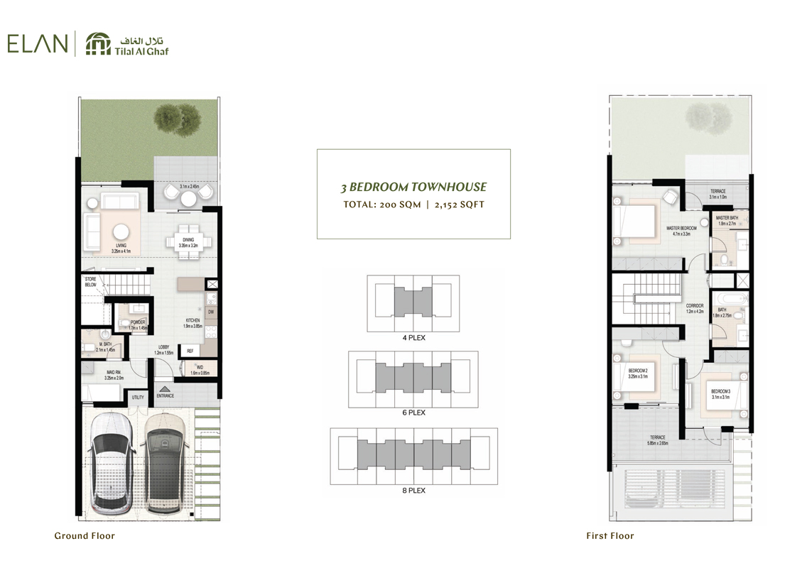 3 Bedroom Townhouses, Size 2,152    sq. ft.