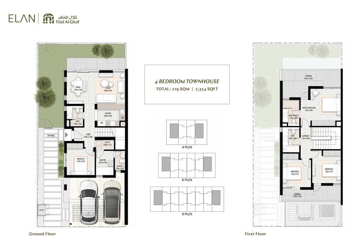 4 Bedroom Townhouses, Size 2,354    sq. ft.