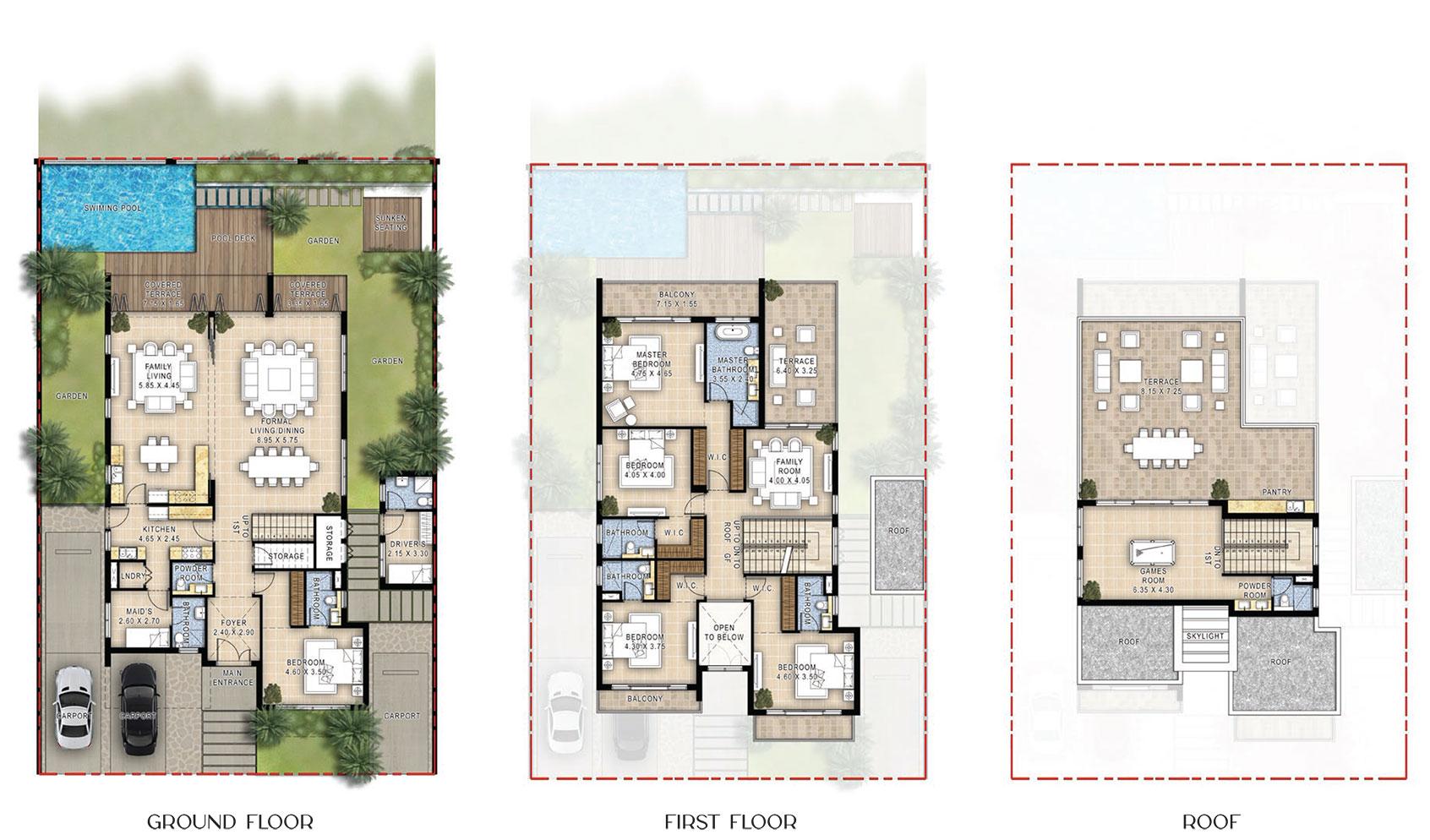5 Bedroom Villas Floor Plan, Size 6,112 sq.ft.