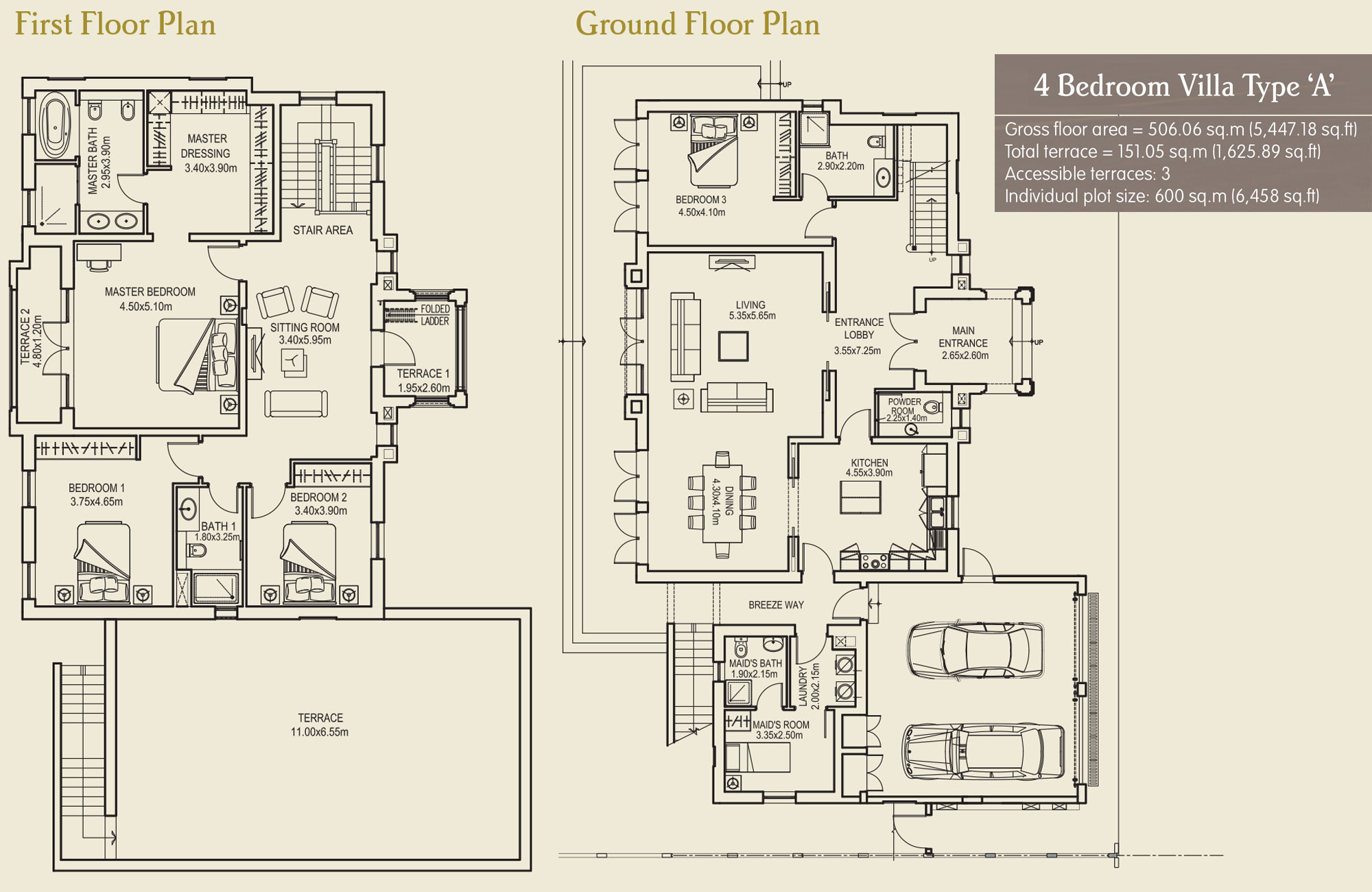 4 Bedroom Villa Type A, Size 5447.18 sq.ft.