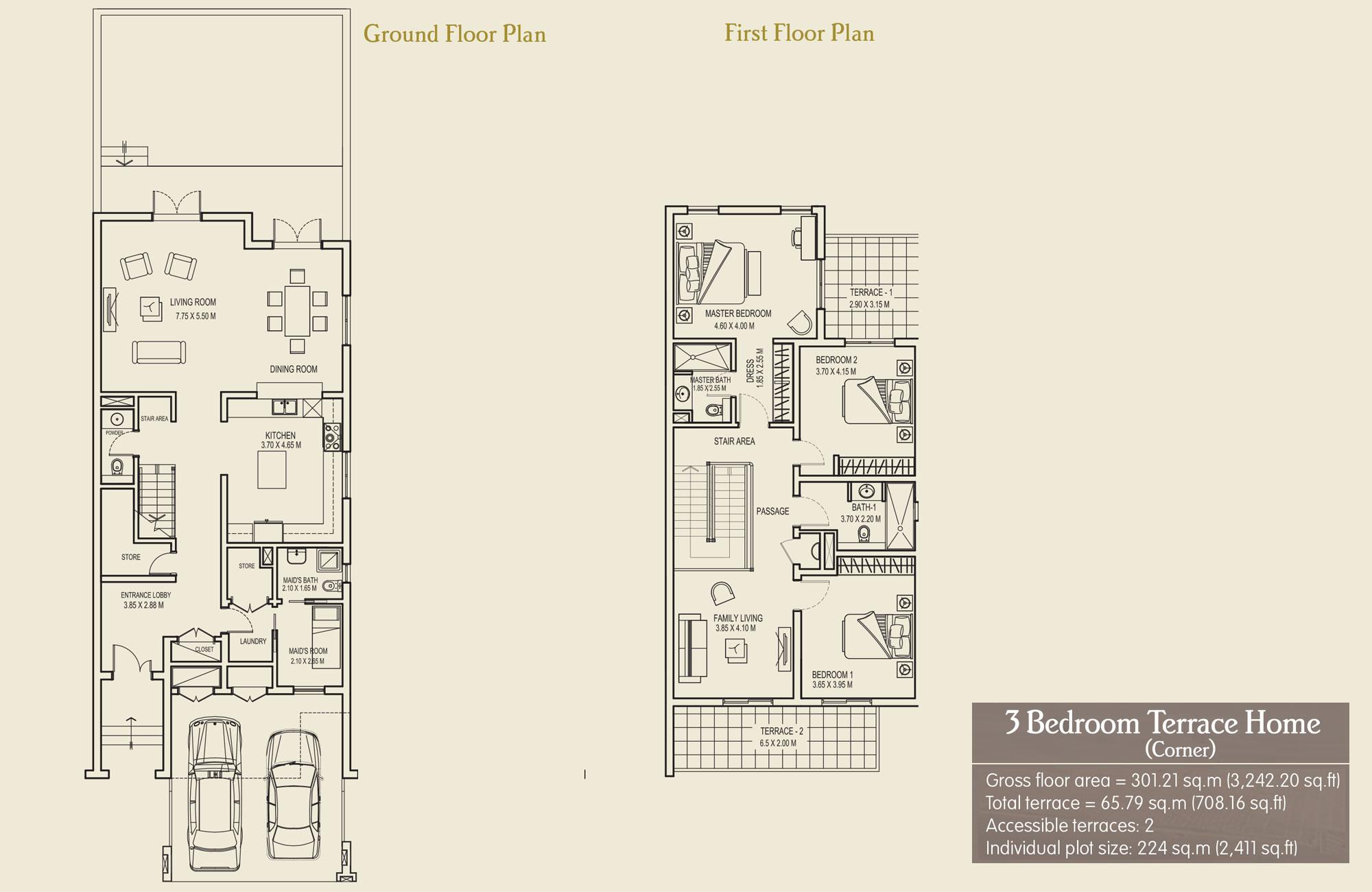 3 Bedroom Terrace Home (Corner), Size 3242.20 sq.ft.