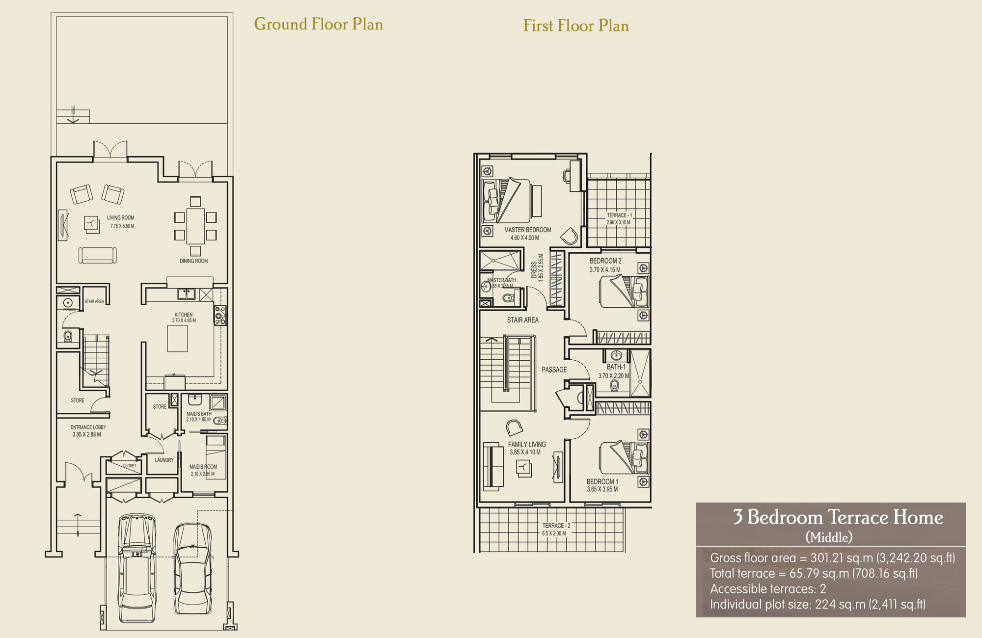 3 Bedroom Terrace Home (Middle), Size 3242.20 sq.ft.