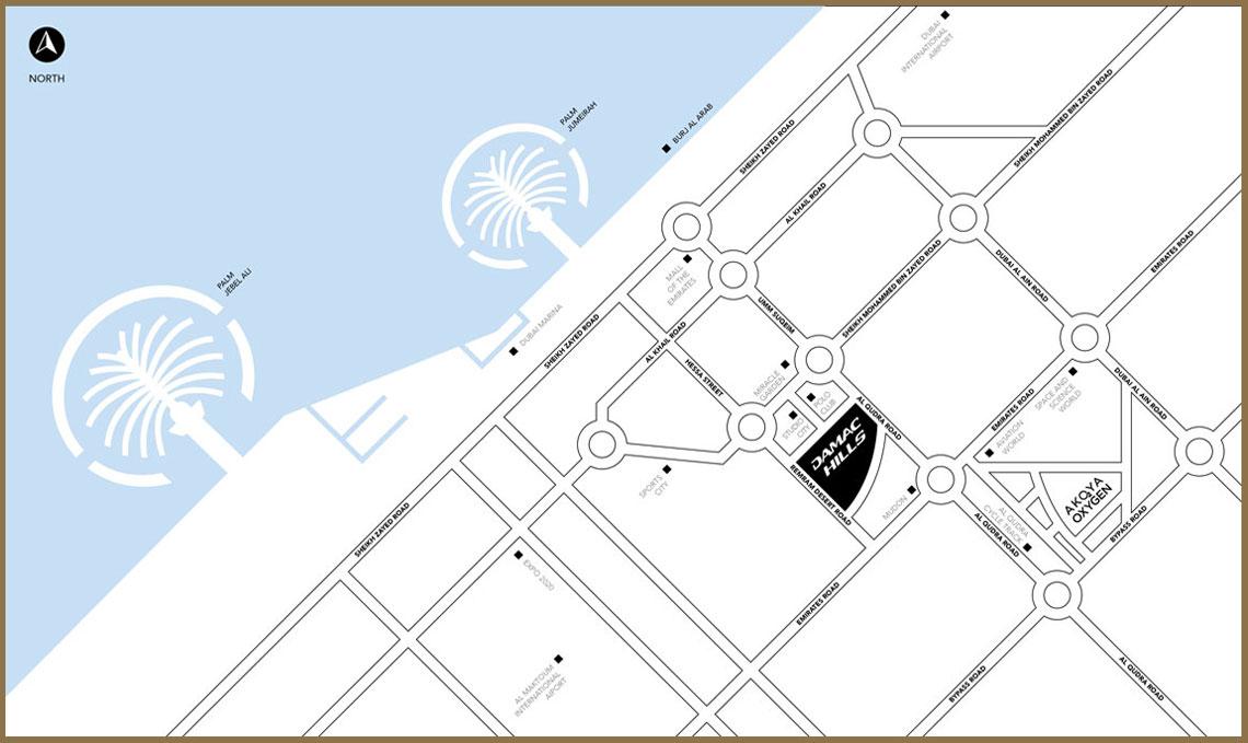 Akoya Damac Hills -  Location Plan