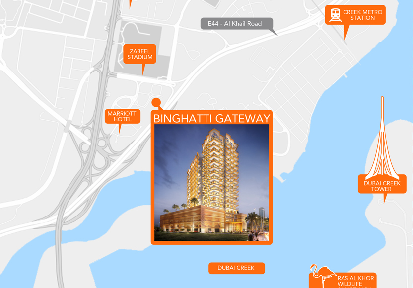 Binghatti Gateway Location Map